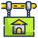 house, property, sale, sign, signaling icon