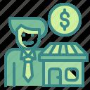 broker, employee, estate, job, real icon