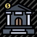 bank, building, dollar, estate icon