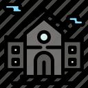 building, estate, real, school icon