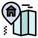 home, location, map icon