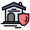 estate, house, real, shield icon