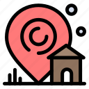 building, estate, house, location, real icon