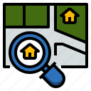 estate, finding, house, location, searching, selection icon