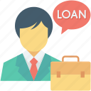 estate agent, loan officer, property agent, realtor, renter icon