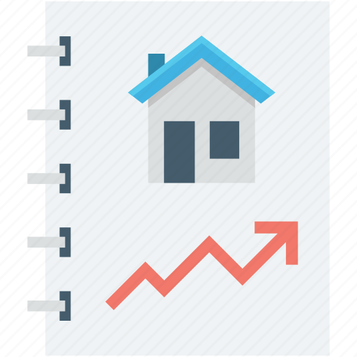 asset pricing, building, price increasing, property value, real estate icon