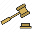 justice, law, mallet, order icon