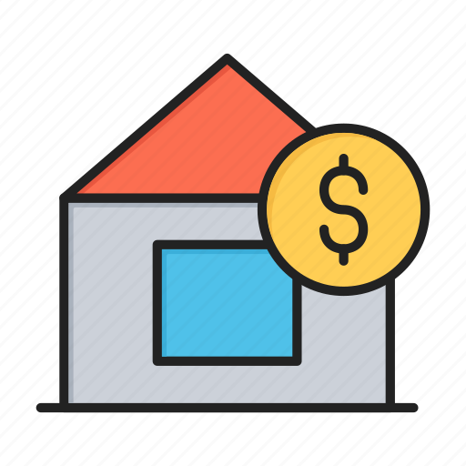 dollar, home, house, real, sale icon