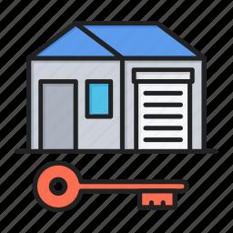 key, real estate, safe, shack icon