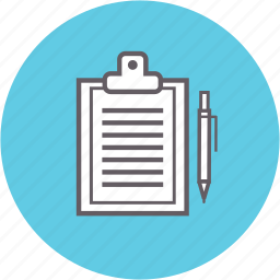 board, clip, document, file, filling out, form, pen icon
