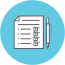 checklist, data, document, fulfillment, pen, stock icon