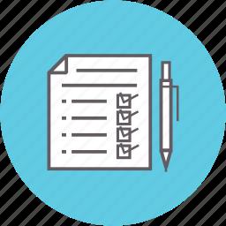 checklist, data, document, fulfillment, pen, stock icon
