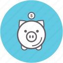 bank, money, piggy, saving, financial
