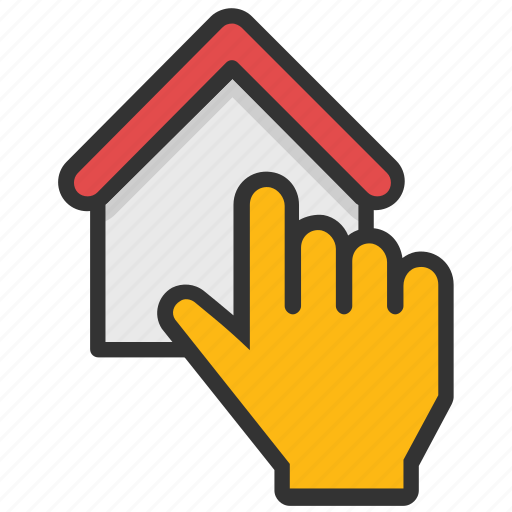 choose home, home hand pointing, homeownership, house selection, online estate icon