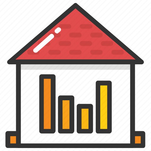 estate graph, house value, property graph, property value, property value graph report icon