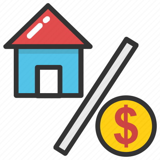 house price, mortgage interest, property interest, property tax, tax discount icon