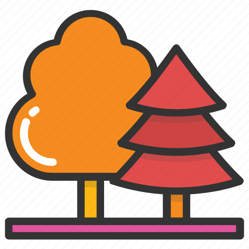 conifer trees, forest, park, pines, trees icon