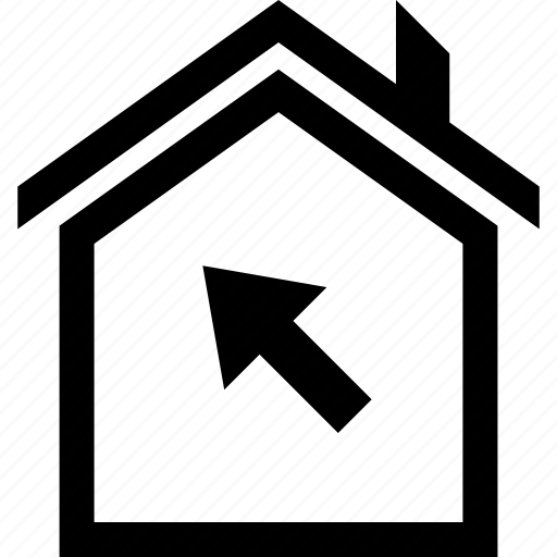 arrow, buying, click, house, online, web icon