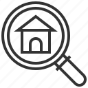 building, estate, home, house, property, real, search icon