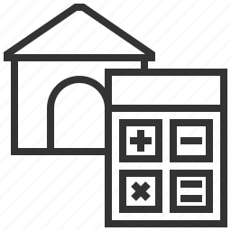building, calculator, estate, home, house, property, real icon