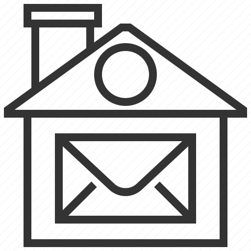 building, estate, home, house, mail, property, real icon