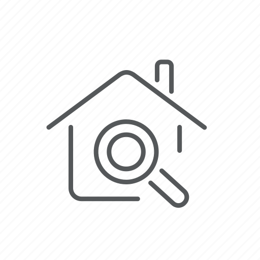 find, glass, house, magnifying, realty, search icon