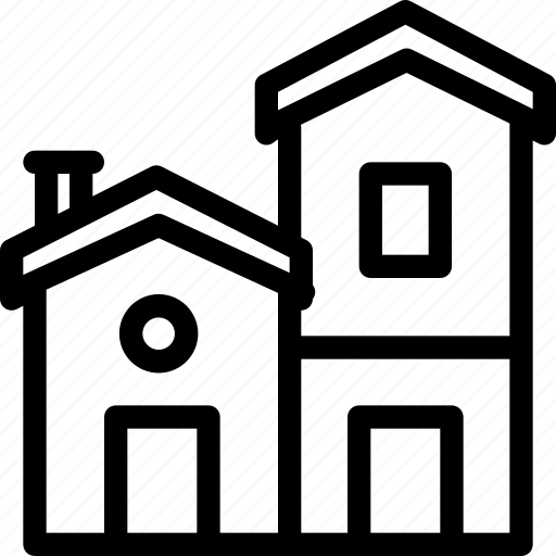 apartment, building, duplex, estate, house, property, real icon