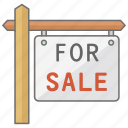 for, house, property, real, real estate, sale, sign icon