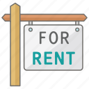 estate, for, real, rent, rental, sign icon