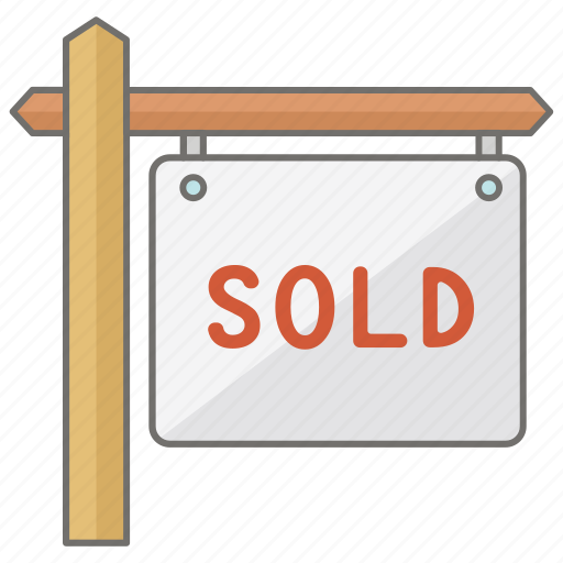 estate, property, real, sign, sold icon