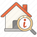 house, info, information, property, real, real estate, search icon