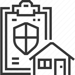 document, estate, house, protection, real, security, shield icon
