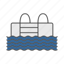 activity, entertainment, facility, pool, stairs, swimming, water icon