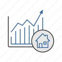 chart, commerce, graph, house, market, realty, trade icon