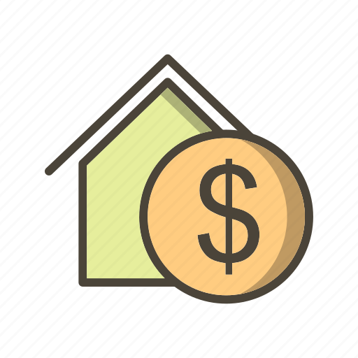 dollar house, property, real estate icon