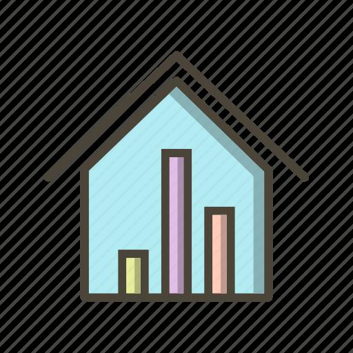 graph, real estate, statistics icon