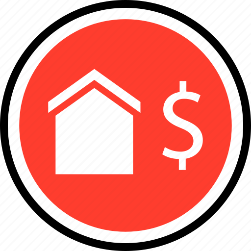 dollar, equity, home, house icon