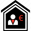 equity, euro, home, person icon