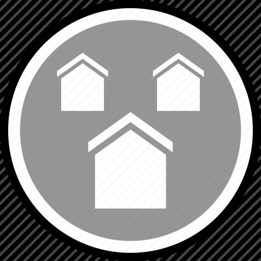 equity, houses, three icon