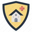 construction, home, house, insurance, protection, security, shield icon