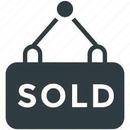 hanging sign, info, notice, real estate, sold sign icon