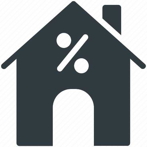 home, percentage sign, property, real estate, value icon