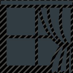 curtain, indoor window, real estate, window, window frame icon
