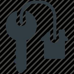 agent, house key, key, keychain, rent icon