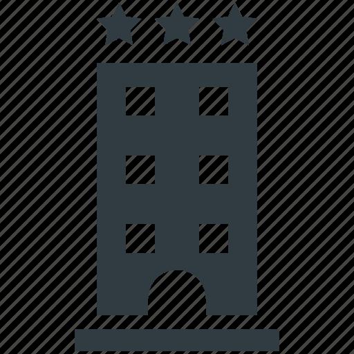building, hotel, inn, public house, three stars icon