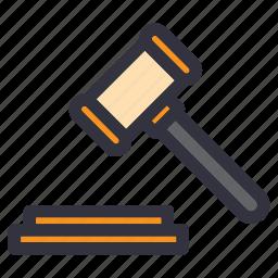 auction, bid, gavel, judge, judgment, law, verdict icon