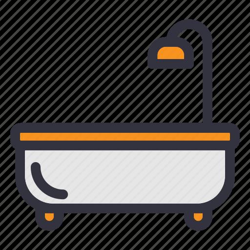 bathroom, bathtub, furniture, home, household, shower, toilet icon