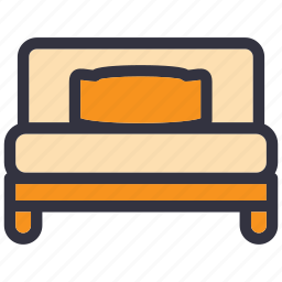 bed, bedroom, furniture, home, house, interior, room icon