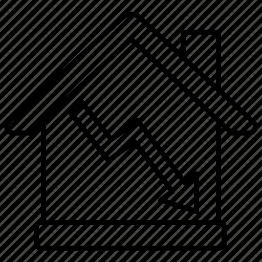 bubble, estate, falling, housing, market, prices, real icon