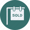 architecture, construction, estate, property, real, real estate, sold icon